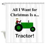 Green Christmas Tractor Shower Curtain