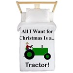 Green Christmas Tractor Twin Duvet