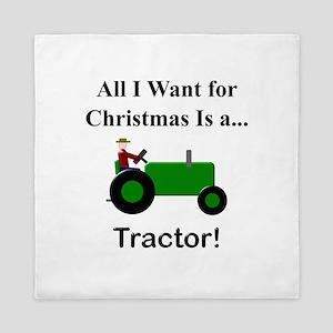 Green Christmas Tractor Queen Duvet