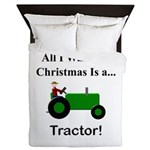 Green Christmas Tractor Queen Duvet