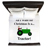 Green Christmas Tractor King Duvet