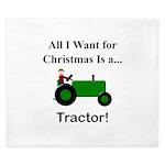Green Christmas Tractor King Duvet