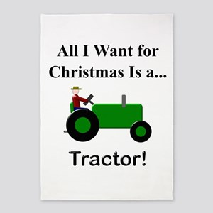 Green Christmas Tractor 5'x7'Area Rug