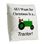 Green Christmas Tractor Burlap Throw Pillow