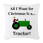 Green Christmas Tractor Woven Throw Pillow