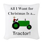 Green Christmas Tractor Woven Throw Pillow