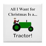Green Christmas Tractor Tile Coaster