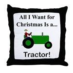 Green Christmas Tractor Throw Pillow