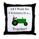 Green Christmas Tractor Throw Pillow