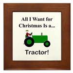 Green Christmas Tractor Framed Tile