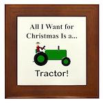 Green Christmas Tractor Framed Tile