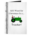 Green Christmas Tractor Journal