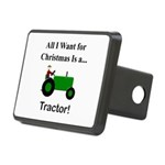 Green Christmas Tractor Rectangular Hitch Cover