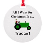 Green Christmas Tractor Round Ornament