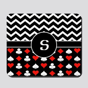 Chevron Poker Custom Monogram Mousepad