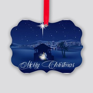 Merry Christmas Nativity Picture Ornament
