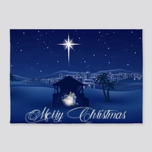 Merry Christmas Nativity 5'x7'Area Rug