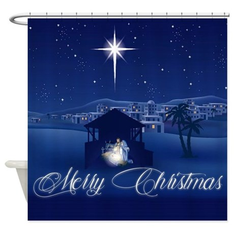 Merry Christmas Nativity Shower Curtain By AdminCP59133934