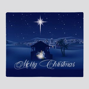 Merry Christmas Nativity Throw Blanket