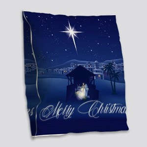 Merry Christmas Nativity Burlap Throw Pillow