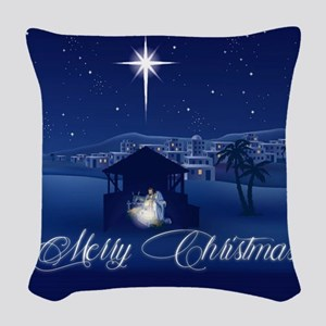 Merry Christmas Nativity Woven Throw Pillow