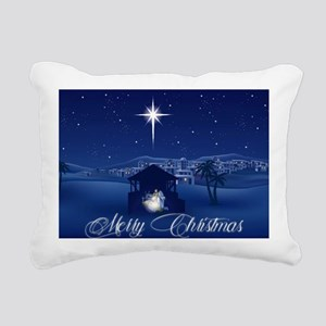 Merry Christmas Nativity Rectangular Canvas Pillow