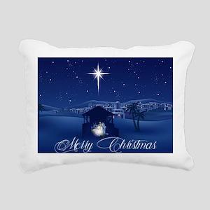 Merry Christmas Nativity Rectangular Canvas Pillow