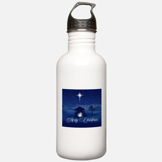 Merry Christmas Nativi Water Bottle
