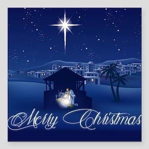 "Merry Christmas Nativity Square Car Magnet 3"" x 3"""