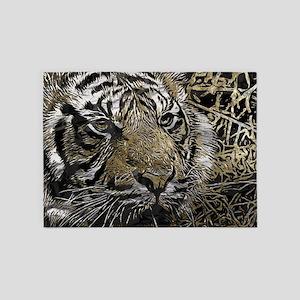 metal art tiger 5'x7'Area Rug