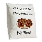 Christmas Waffles Burlap Throw Pillow