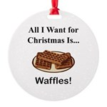 Christmas Waffles Round Ornament