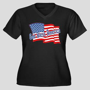 GOD BLESS AMERICA July 4th Women's Plus Size V-Nec
