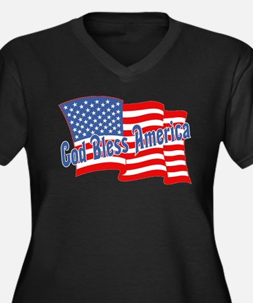 GOD BLESS AMERICA July 4th Women's Plus Size V-Nec