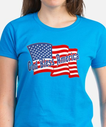 GOD BLESS AMERICA July 4th Women's Dark T-Shirt