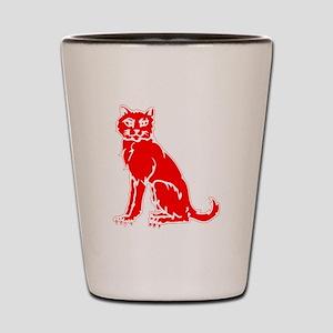 Red Cat Shot Glass