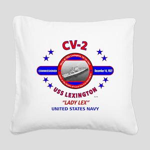USS LEXINGTON CV-2 LADY LEX W Square Canvas Pillow