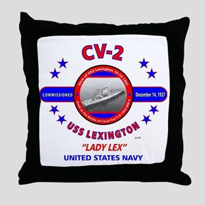 USS LEXINGTON CV-2 LADY LEX WORLD WAR Throw Pillow