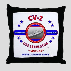 USS LEXINGTON CV-2 LADY LEX WORLD WAR Throw Pillow
