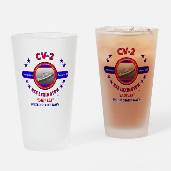 USS LEXINGTON CV-2 LADY LEX WORLD W Drinking Glass