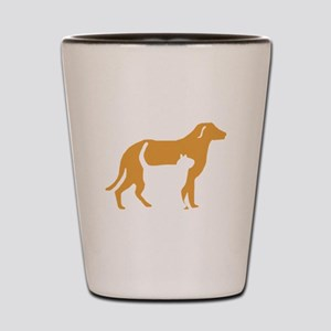 Brown Cat And Dog Shot Glass