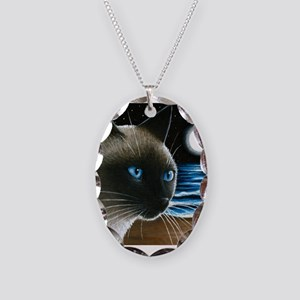 cat 396 siamese Necklace Oval Charm
