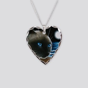 cat 396 siamese Necklace Heart Charm