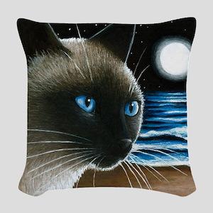 cat 396 siamese Woven Throw Pillow