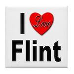 I Love Flint Tile Coaster
