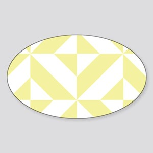 Pale Yellow Geometric Cube Pattern Sticker (Oval)