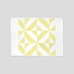 Pale Yellow Geometric Cube Pattern 5'x7'Area Rug