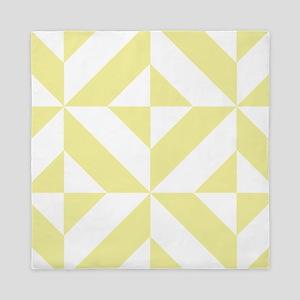 Pale Yellow Geometric Cube Pattern Queen Duvet