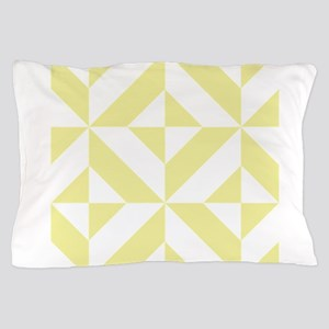 Pale Yellow Geometric Cube Pattern Pillow Case