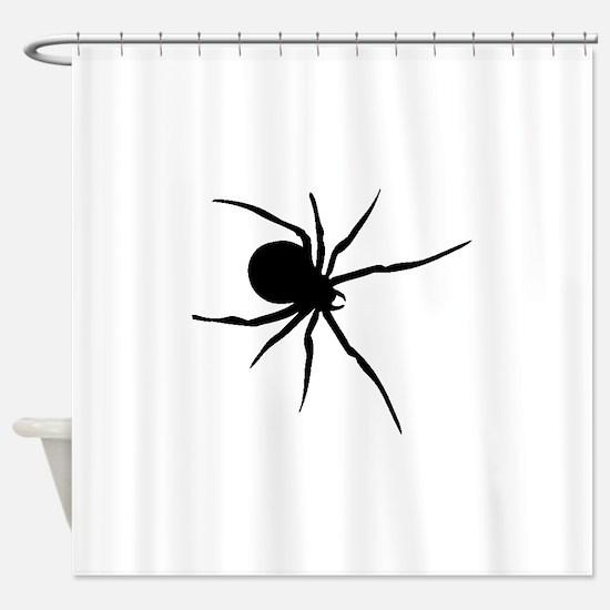 Black Widow Spider Silhouette Shower Curtain